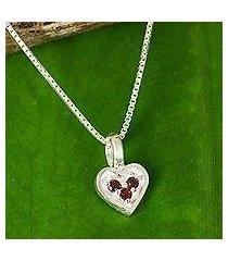 garnet pendant necklace, 'heart's treasure' (thailand)