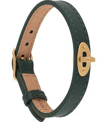 mulberry bayswater thin 10mm leather bracelet - green