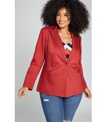 lane bryant women's bryant blazer - modern stretch single button 24 scorched red