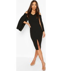 cape midi dress, black