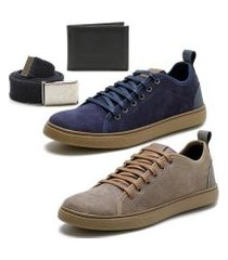 kit 2 pares de sapatênis + carteira + cinto épico masculino