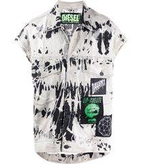 diesel oversized tie-dye trucker vest - grey
