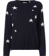 chinti and parker cashmere slouchy star intarsia sweater - blue