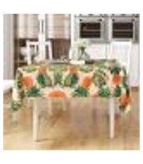 toalha para mesa estampada tropical abacaxi quadrada 1,40m x 1,40m tecido jacquard