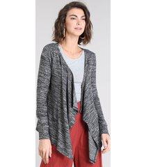 capa feminina básica em tricô mescla manga longa cinza mescla escuro