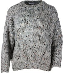 brunello cucinelli crew neck sweater in mohair, cotton and wool with three-dimensional processing embellished with multicolor applied sequins