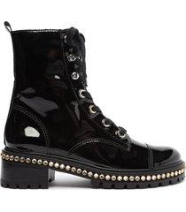 andorra patent leather bootie - 10 black verniz
