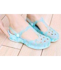 sandalias de plataforma gruesa antideslizante para mujer-azul