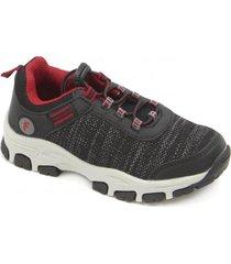 zapatilla outdoor elastico a correr negro ficcus