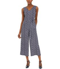 calvin klein cropped crackle-print jumpsuit