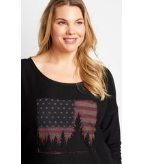 maurices plus size womens black americana pullover