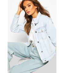faux fur lined jean jacket, light blue