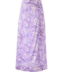 ganni floral print skirt