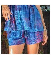 batik rayon shorts, 'rainy at dawn' (indonesia)