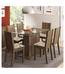 conjunto sala de jantar madesa gales mesa tampo de vidro com 6 cadeiras rustic/lírio bege