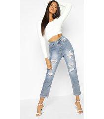 versleten acid wash gebleekte mom jeans met hoge taille, middenblauw
