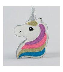 bolsa infantil unicórnio com glitter prateada