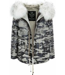 embroidery camou jazzy mini parka