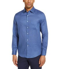 tasso elba men's distressed dot print linen woven shirt, created for macy's