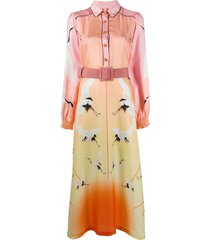 f.r.s for restless sleepers bird print shirt dress - pink