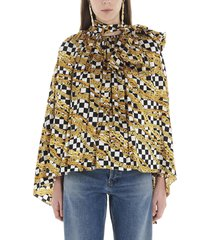 balenciaga puffy scarf blouse