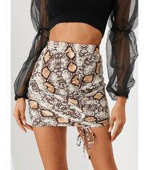 minifalda con cordón de piel de serpiente yoins