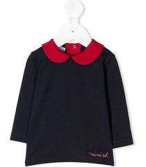 mi mi sol contrast peter pan collar top - blue