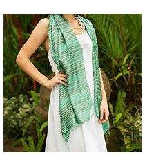silk shawl, 'mint melody' (thailand)