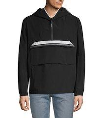 logo trim hooded pullover