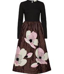 alba, 700 jasmine applique qulited jurk knielengte multi/patroon stine goya
