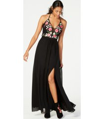 nightway petite embroidered corset-back gown