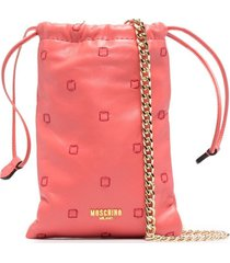 moschino sheepskin drawstring pouch bag - pink
