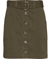 cotton twill mini skirt kort kjol grön tommy hilfiger