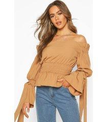 woven off the shoulder shirred detail top, camel