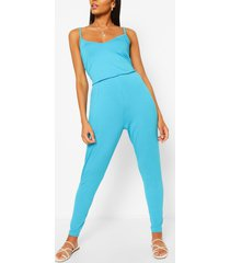 basic cami strappy jumpsuit, turquoise