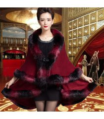2017 winter new fashion gradient colored knit shawl fake fox fur cape coats