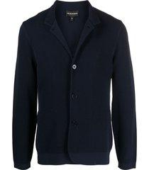emporio armani button front piqué-knit jacket - blue