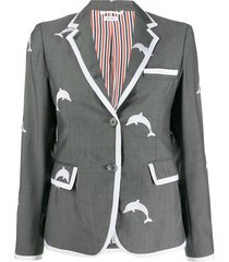 thom browne dolphin embroidered uniform coat - grey