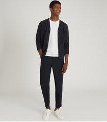 reiss hampstead - merino wool cardigan in navy, mens, size xxl