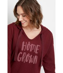 maurices womens maroon homegrown waffle knit hoodie red