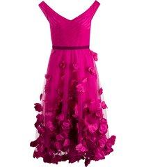 marchesa notte floral-embellished off-shoulder dress - pink