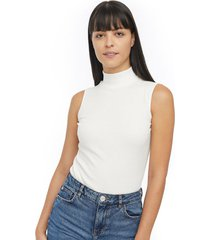camiseta cuello alto mujer color blanco, talla 10