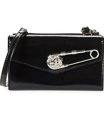 tri-fold patent leather wallet-on-chain