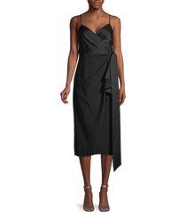 diane von furstenberg women's avila midi wrap dress - black - size 00