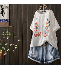 zanzea para mujer floral de manga corta impresa floja ocasional tops camisas túnica de la blusa -blanco