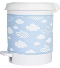 lixeira nuvem chevron azul quarto beb㪠infantil menino - azul - menino - dafiti