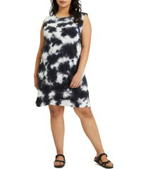 plus size women's sanctuary easy way print t-shirt dress, size 2x - black