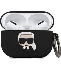 karl lagerfeld paris embossed 3d logo airpods pro case cover - black