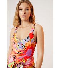 bodysuit colour print - red - xl