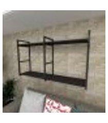 prateleira industrial para sala aço cor preto prateleiras 30 cm cor preto modelo ind13psl